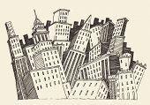 pic of hustle  - Big City Concept Architecture Engraved Illustration hand drawn sketch - JPG