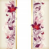 pic of violet  - Vertical vintage floral banner with violet and pink flowers - JPG