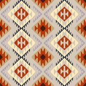 image of native american ethnicity  - Vector seamless ethnic pattern with american indian motifs in multiple colors - JPG