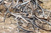 pic of fire insurance  - Close up damage bicycles caused by fire in Thailand - JPG
