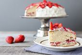 picture of cake stand  - strawberry cake on the cake stand rustic - JPG