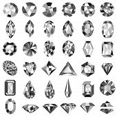 image of precious stones  - Illustration set of precious stones of different cuts and shapes - JPG