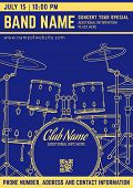 Постер, плакат: Rock Music Concert Drum Set Vertical Music Flyer Template