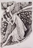 stock photo of creatures  - Elven fairy magical forest creature monochromatic drawing - JPG