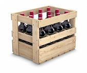 picture of wooden crate  - Wine bottles in a wooden crate on white background  - JPG