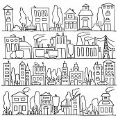 picture of row trees  - Scketch big city architecture with houses factory trees cars - JPG