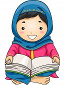 picture of muslim  - Illustration of a Little Muslim Girl Reading the Quran - JPG