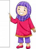pic of muslim  - Illustration of a Little Muslim Girl Holding a Blank Board - JPG