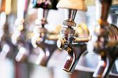 pic of draft  - Close up of beer lines for draft beer in restaurant. ** Note: Shallow depth of field - JPG