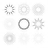 stock photo of starburst  - Set of sparkles and starbursts with rays - JPG
