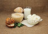 stock photo of milk products  - Fresh dairy products - JPG