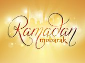 picture of prayer  - Beautiful golden greeting card design with stylish text Ramadan Mubarak in front of shiny mosque for Islamic holy month of prayers - JPG
