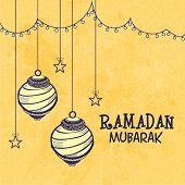 pic of ramadan mubarak card  - Creative hanging lanterns and stars decorated greeting card for holy month of Muslim community - JPG