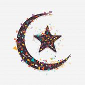 picture of crescent-shaped  - Colorful ribbons decorated crescent moon with star on grey background for Muslim community festival - JPG