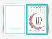 picture of moon-flower  - Elegant greeting card design with colorful flowers decorated crescent moon and hanging stars for Muslim community festival - JPG