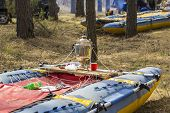 foto of raft  - Catamarans dry on a halt during the rafting on the river - JPG
