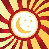 stock photo of crescent-shaped  - Yellow icon with crescent moon and stars - JPG