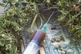 image of seed bearing  - Syringe with brown liquid and hemp seeds and dried hemp leaves on dollar banknotes - JPG