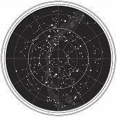 picture of northern hemisphere  - Celestial Map of The Night Sky - JPG