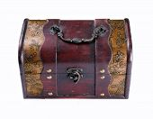 stock photo of plunder  - single closed old wooden chest with ornament - JPG