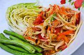 Green Papaya Salad Thai Cuisine Spicy Delicious. poster