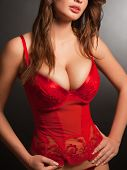 picture of mammary  - Girl in sexy red underwear studio isolated shot - JPG