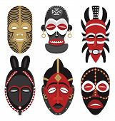 stock photo of african mask  - Six African masks.