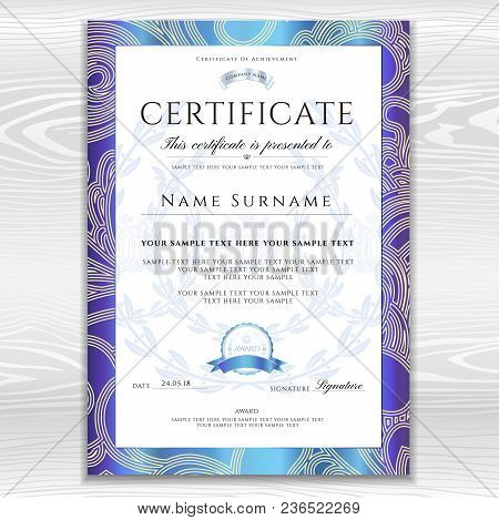 Poster Of Certificate Diploma Golden Design Template Background With Fl Filigree Pattern Scroll Borde