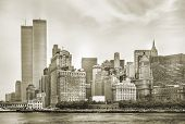 New York City Skyline From Nj With World Trade Center Featured As Landmark Of Twin Towers, Destroyed poster