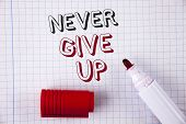 Text Sign Showing Never Give Up. Conceptual Photo Be Persistent Motivate Yourself Succeed Never Look poster