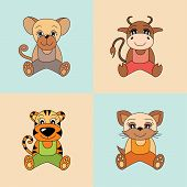 Rat, Ox, Tiger, Cat, Symbols Of The Chinese Horoscope 2020, 2021, 2022 And 2023 Years. Cute Animals: poster