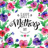 Happy Mothers Day Banner With Pansies poster