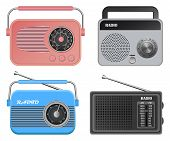 Radio Music Old Device Mockup Set. Realistic Illustration Of 4 Radio Music Old Device Mockups For We poster