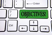 Handwriting Text Writing Objectives Motivational Call. Concept Meaning Goals Planned To Be Achieved  poster