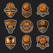 Basketball Tournament Vintage Isolated Label Set. Basketball Major League, Championship Symbol, Spor poster