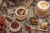 Herbal Medicine Concept. Alternative Medicine. Dry Curative Wild Rowan Berry, Apple Tree Berry And C poster