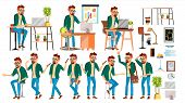 Business Man Character Vector. Hipster Working Man. Environment Process In Start Up Office, Studio.  poster