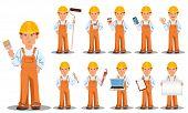 Handsome Builder In Uniform, Cartoon Character, Set. Professional Construction Worker Or Repairman.  poster