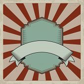 Retro Label And Ribbon. Background With Dark Red Sunrays And Grunge Effect. Removable Elements. poster