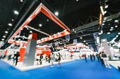 Blur, Defocused Background Of Public Exhibition Hall. Business Tradeshow, Job Fair, Or Stock Market. poster