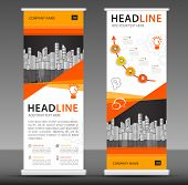 Orange Roll Up Banner Stand Template Design, Business Brochure Flyer, Infographics, Presentation, Ad poster