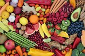 Fruit and vegetable health food to maintain a healthy heart with super foods high in antioxidants, a poster