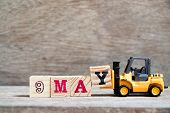 Toy Forklift Hold Block Y To Complete Word 9 May On Wood Background (concept For Calendar Date For M poster