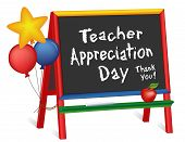 Teacher Appreciation Day, Tuesday Of First Full Week Of May, Star And Balloons, Apple For The Teache poster