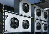 pic of air conditioning  - Bank of industrial building air conditioning fans - JPG