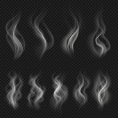 Grey Hot Smoke Clouds. White Transparent Steam Evaporation Isolated Vector Effects. Vector Motion St poster
