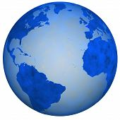 foto of eastern hemisphere  - A Big Blue Textured Earth Globe view of eastern and western hemispheres - JPG