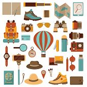 Air Balloon Travel Or Expedition Icons. Adventure, Discovering And Hiking Kit. Air Trip Collection W poster