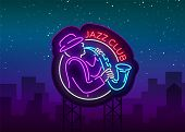 Jazz Club Neon Vector. Neon Sign, Logo, Brilliant Banner, Bright Night Advertising For Your Projects poster