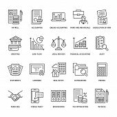 Financial Accounting Flat Line Icons. Bookkeeping, Tax Optimization, Firm Dissolution, Accountant Ou poster